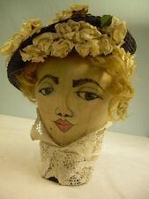 Vintage Navy Black STRAW tam HAT rosettes + glass hatpins pins summer day chic