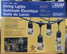New FEIT Outdoor Weatherproof String Light Set 48ft/24 Light Sockets w/ 36 Bulbs