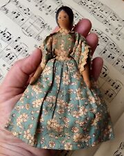 Rare Antique Tynietoy Peg Wooden Dollhouse Peggity Doll Original  Clothes 5 1/2""