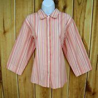Studio Works Shirt Button Up Blouse Womens Sz XL Pink Striped 3/4 Sleeve No-Iron