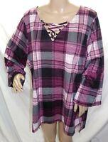 French Laundry Women Plus Size 1x 2x 3x Hi Lo Burgundy Plaid Tunic Top Blouse