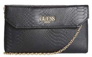NEW GUESS Harper Womens Handbag Travel Crossbody Clutch Bag Black Snakeskin BNWT