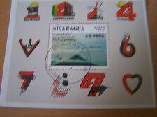 NICARAGUA,1989 VOLCANO M/S.USED,10TH ANNIV OF REVOLUTION.SG NO.MS3069.