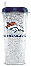 Denver Broncos Crystal Freezer Tumbler with Straw - 16oz [NEW] NFL Cup Mug