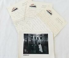 Vintage Cunard RMS queen Mary Letter & Photograph Set 1951 Rare Ocean Liner