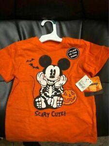 NEW 2T Disney Glow in Dark Orange Mickey Mouse Skeleton Halloween Short T-Shirt