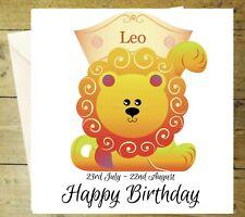 LEO ZODIAC Star Sign Horoscope Lion Carte Joyeux Anniversaire Personnalisé paillettes