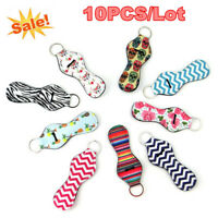 10pcs Colorful Chapstick Holder Keychain Neoprene Lip Balm Tube Lipstick Holder