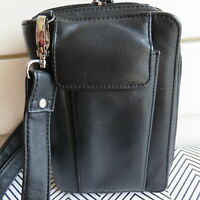 Lodis Zip Around Mobile Organizer Binder Phone Holder Crossbody Black Leather