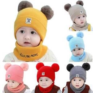 Toddler Kids Baby Boys Girl Winter Pom Bobble Hat Knit Warm Beanie Cap Scarf Set