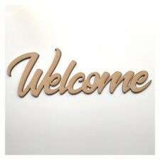 Welcome Sign MDF Shape Word Raw Wooden Shabby Chic Wall Art Boards Script