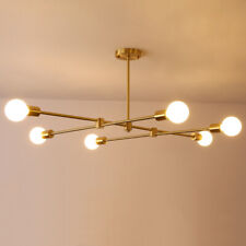 6 Lights Mid Century Sputnik Branching Chandelier Brushed Brass Pendant Light