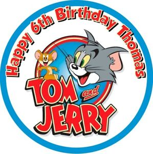 """Tom & Jerry, 7.5"""" , 2"""" , 1.5"""" ROUND EDIBLE ICING PRINTED CAKE TOPPER"""