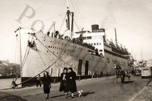 Paquebot Maréchal Lyautey Port de Marseille Reproduction photo ancienne an. 1955