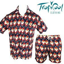 Santa Claus Mens Christmas Hawaiian Shirt & Shorts Set Navy