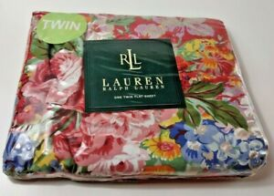 Lauren Ralph Lauren Beach House Floral Fuchsia Flat Sheet Twin