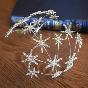 Women's Crystal Headband Hairband Star Hair Crown Tiara Jewelled Wedding Prom