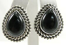 Sterling Silver Black Onyx Earrings Pear Cut Cabochon Rope Beaded Border 1-1/8""