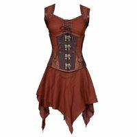 Steampunk Medieval Warrior Cosplay Plus Size Steel Boned Corset Dress