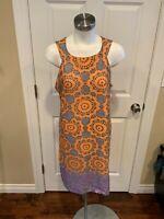 Aryeh Gray Shift Dress w/ Geometric Orange & Purple Circle Print, Size L