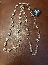 Swarovski Vintage 36 Inch Long Clear Crystal Open Back Bezel Set Necklace Gold