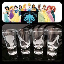 Personalised Disney Princess Shot Glasses Set Of 4 Bride Hen Birthday Wedding