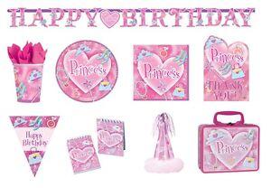 PRINCESSES PARTY Birthday Range - Pink Girl Tableware Decorations Supplies