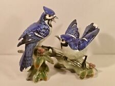 Majolica Pair of Blue Jay Birds Figurine