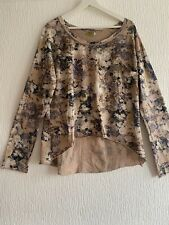 NUDE FLORAL TOP M/L or 16 LONG SLEEVE TOWIE WORK PARTY CASUAL WEAR PRETTY SMART