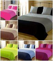 DOUBLE BED PLAIN QUILT COVER BEDDING DUVET SET BLACK PINK BLUE GREEN STUDENT