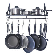 Kitchen Hanging Shelf Iron Pot Pan Rack Wall Mount Utensils Storage Organizer UK