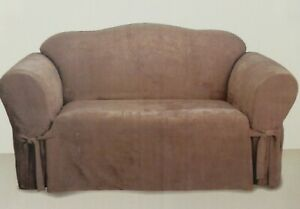 Sure Fit Suede Taupe Loveseat Slipcover NIP