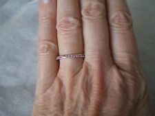 Pink Sapphire stacker ring, 0.16 carats, size N/O, 1.72 grams 925 Sterling Silve
