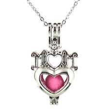 HY-K562 Silver 35mm I LOVE MOM Heart Pearl Beads Cage Necklace Fit under 9mm