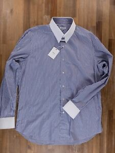 FRAY contrasting collar striped dress shirt - Size 44 / 17.5 - NWT