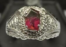 1.315 CT NEON WATERMELON TOURMALINE .925 STERLING SILVER MENS RING SIZE 10.5