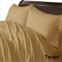 Taupe Striped Bedding Collection With Extra Deep Pocket 1000TC Egyptian Cotton
