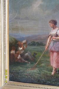 Oil Painting - Woman Raking Corn.