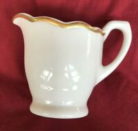 "Vintage Syracuse China  2 3/4"" Creamer White w/Gold Trim USA 99-C SCOLLOPED EDGE"