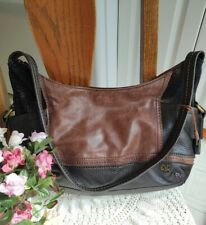 The Sak Kendra Leather Hobo Shoulder Handbag Medium and Dark Brown Metallic Mint