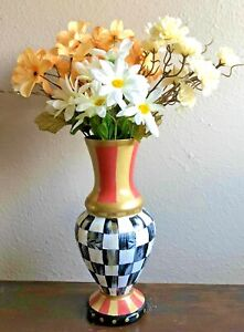 MY OWN Hand Painted Great Courtly Glass Vase - Black and White Check