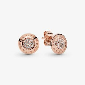 NEW PANDORA STERLING ROSE GOLD SIGNATURE STUD ROUND EARRINGS 290559CZ