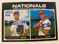 2020 Topps Heritage High Number Max Scherzer Juan Soto Dual Auto 20/25 On Card