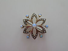 Victorian Edwardian 10K Rose Gold Opal Seed Pearls Star-Shaped Pin Pendant