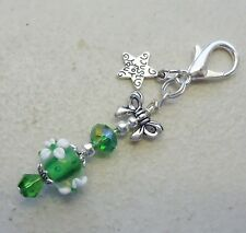Lampwork Flower Bead w Green Crystal - Just for You Clip on Charm or Zipper Pull