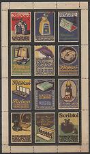 12 x Reklamemarken, PELIKAN - GÜNTHER WAGNER, kpl. Block,gummiert,Falz  (#25528)