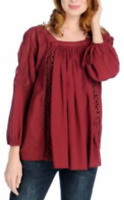 Indigo Thread Co.™ Crinkle Woven Raglan Slv Crochet Detail Peasant Top M Burgund