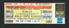 2000 Metallica Kid Rock Sevendust Unused Full Concert Ticket Milwaukee M2K
