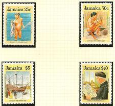 La Jamaïque:1989 découverte de l'Amérique set 1 + m / feuille SG 750-3 + ms74 menthe non montés