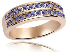 Amazing Two Levels Purple Crystal Ring Gold Tone Large Size Q 18 mm FR83